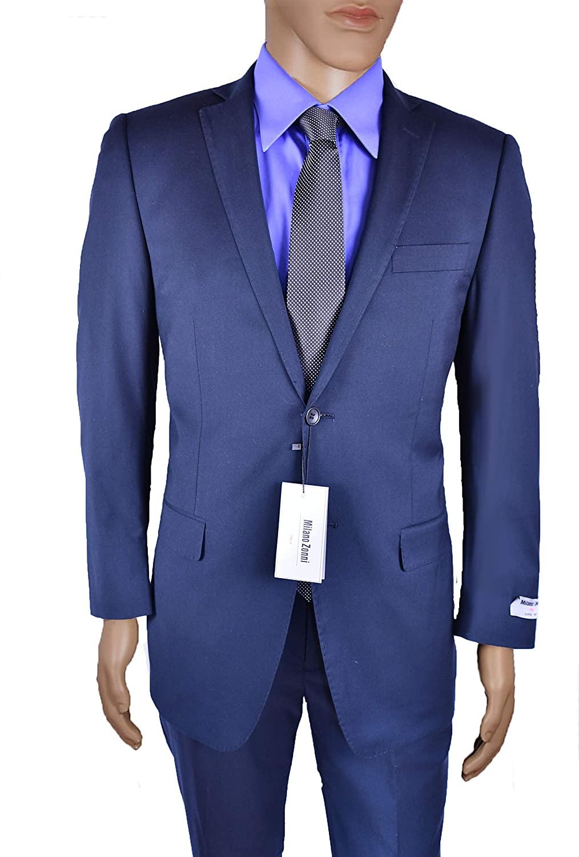 Milano Zonni Men's Solid Navy Slim Fit Suit