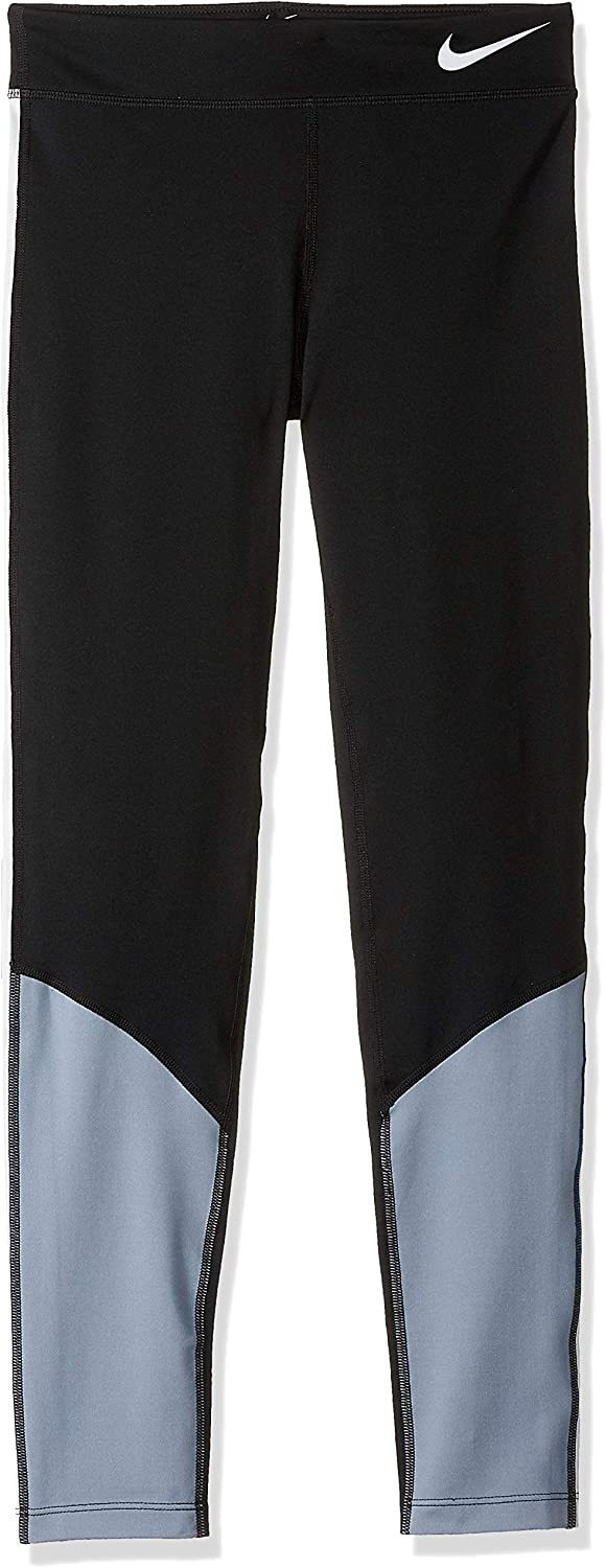 NIKE Girl's Trophy Colorblock Tights, Black/Ashen Slate/Pure Platinum, Large