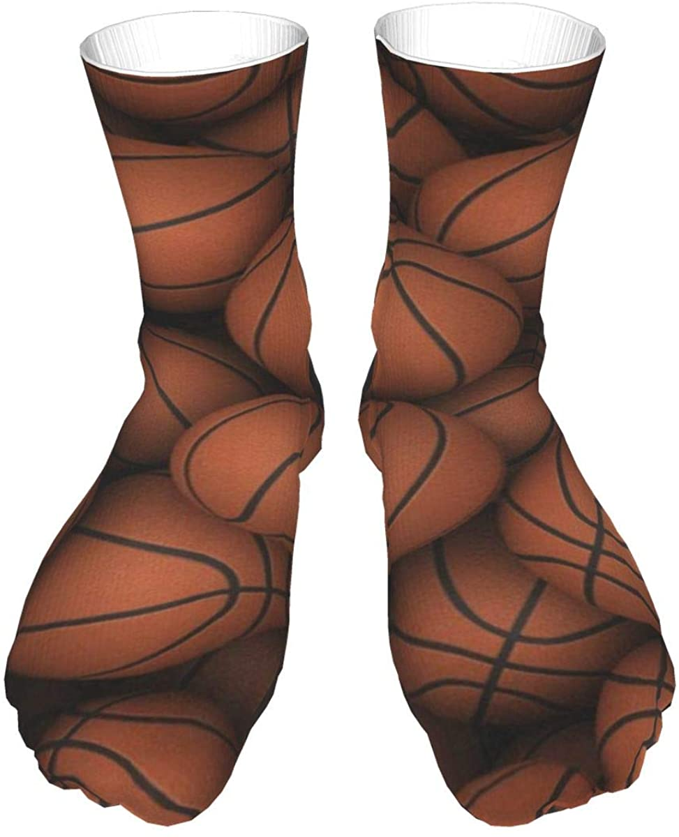 Crew Socks 3d Cool Basketball Balls Print Mens Womens Novelty Mid Calf Dress Casual Socks Adult