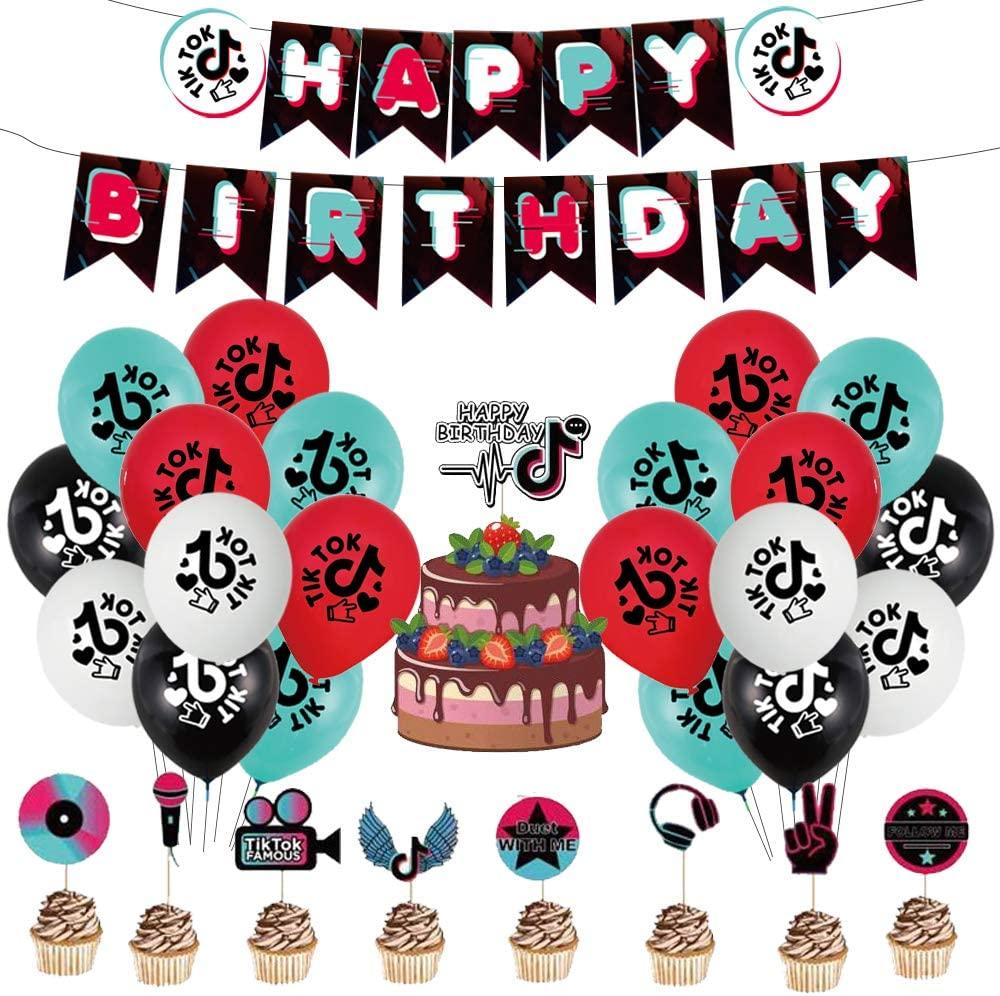 Tik Tok Party Decorations,Tik Tok Themed Happy Birthday Supplies Banners Cake Topper Cupcake Toppers Music Karaoke Tik Tok Short Video Latex Balloons for Kids Boys Girls Teens