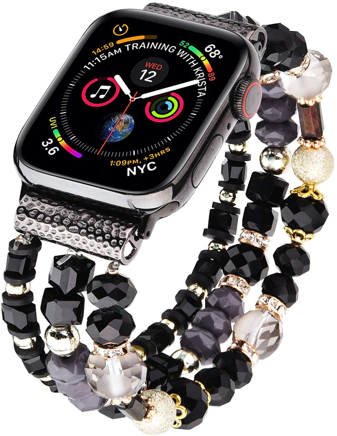 V-MORO Bracelet Compatible with Sereis 5 Apple Watch Band 40mm 38mm Women Fashion Handmade Elastic Stretch Beads Replacement for iWatch Series 4/3/2/1 38mm/40mm Girls Black/Gold