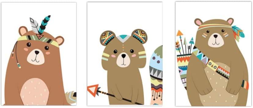 Indian Animal Deer Bear Fox Art Canvas Poster Prints Cartoon Wall Nordic Baby Bedroom Decor 60x80cm(23.6''x31.5'') 3pcs Framed