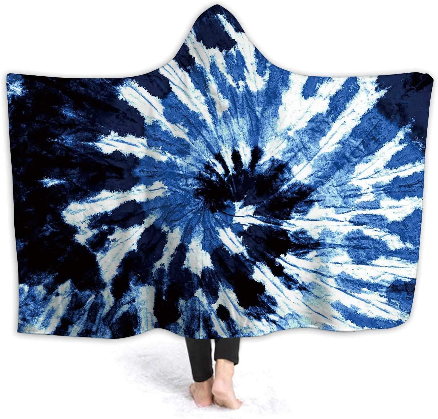 Hitecera Tie de Pattern.Hand Drawn Blue Shibori Print.Ink Textured Japanese -.Modern Batik Wallpaper Paper.Template.Marble,Hooded Blanket Anti-Pilling Flannel Blanket suminagashi S 50''x40''(WxH)