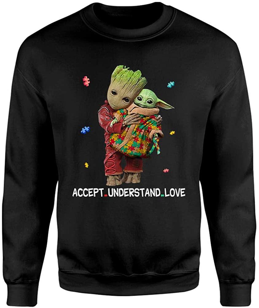 Accept Understand Love Autism Awareness Baby-Groot Hug Baby-Yoda Cute Shirt for Men Women Kids