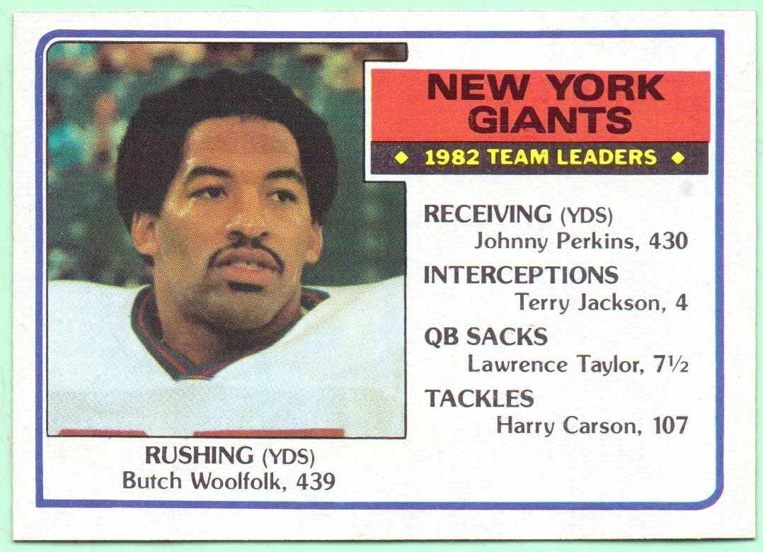 1983 Topps New York Giants Team Leaders #120 - Butch Woolfolk