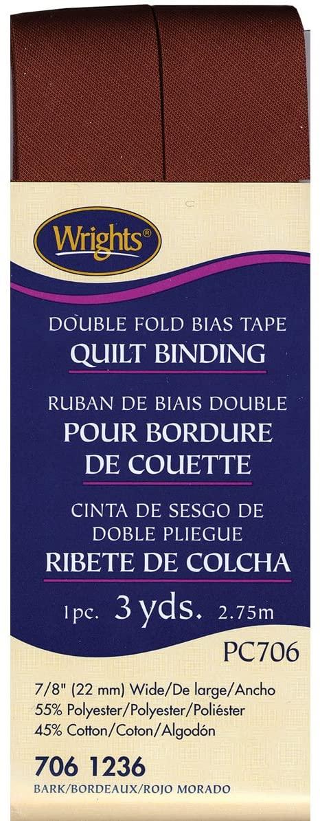 Wrights 117-706-1236 Double Fold Quilt Binding Bias Tape, Bark, 3-Yard