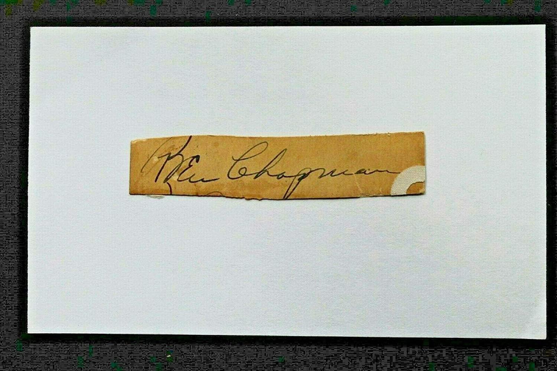 Ben Chapman (d.1993) NY Yankees Red Sox Autograph Cut Signed 3x5 Index Card