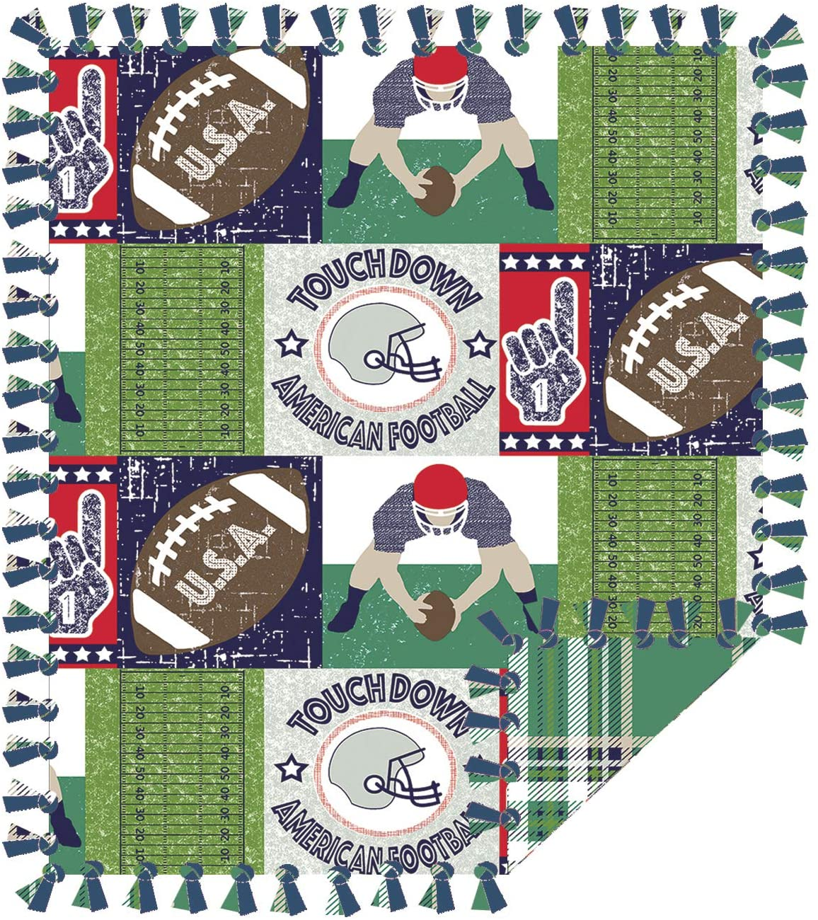 Football Touchdown No Sew Throw Kit - 48inX60in. 2 Prints. Reversible Blanket.
