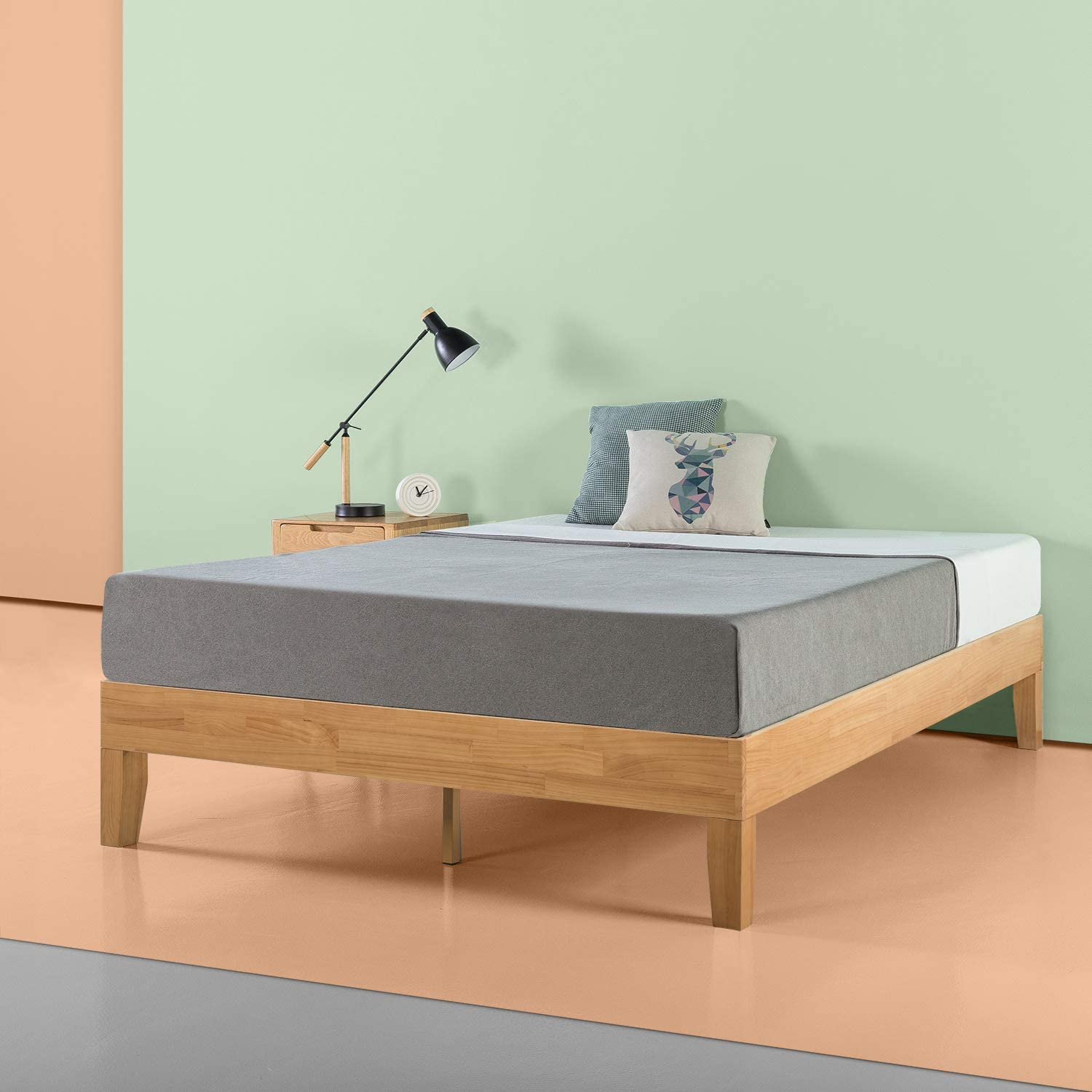Zinus Moiz 14 Inch Deluxe Solid Wood Platform Bed / No Box Spring Needed / Wood Slat Support / Natural Finish, Twin