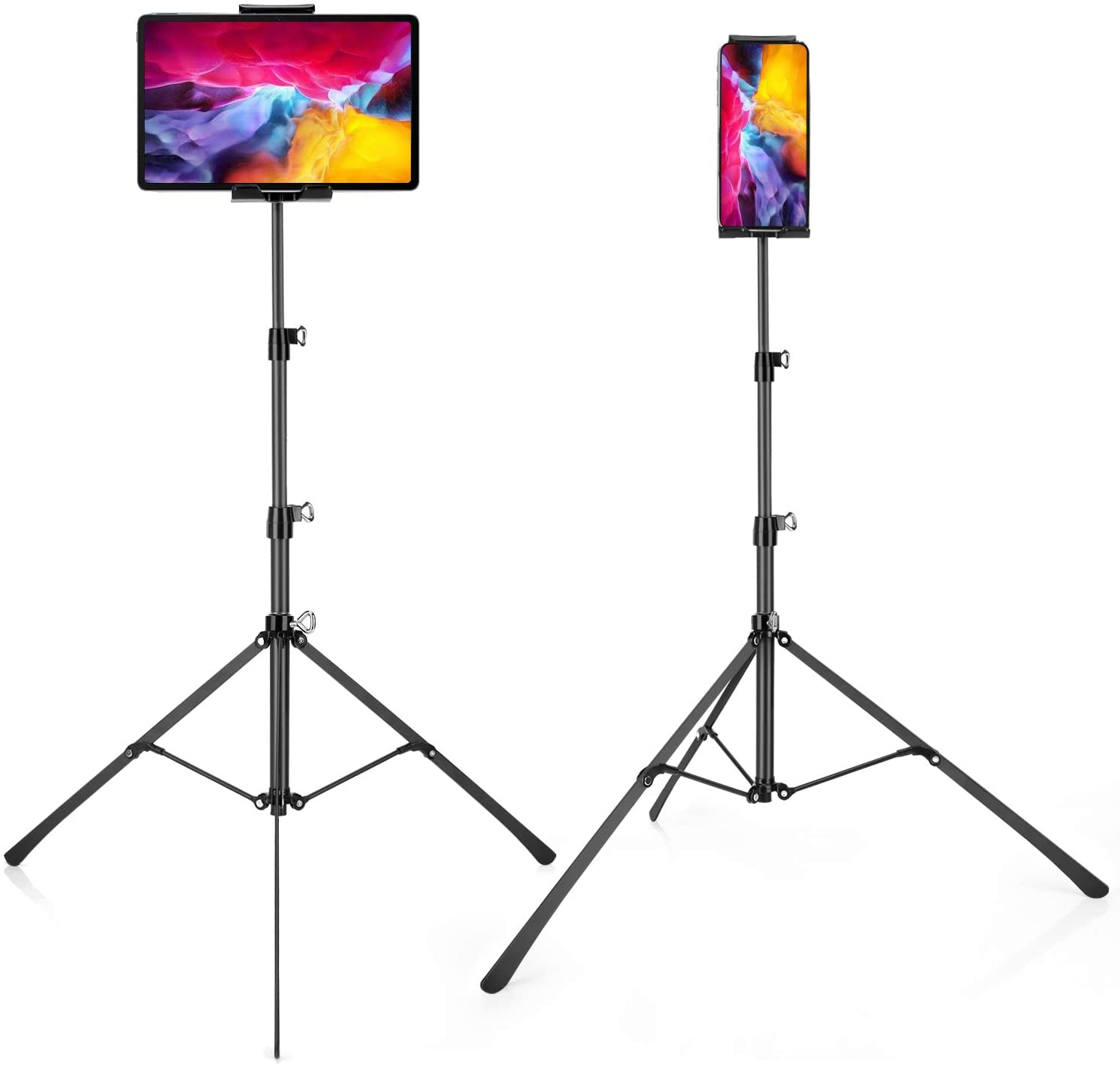 Phone and iPad Tripod Stand, Foldable Floor Tablet Stands, Height Adjustable 20 to 50 Inch 360°Rotating Tablet Holder Mount for iPad Pro, iPad Air, iPad Mini and All 4-12 Inch Tablets, Carrying Case