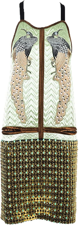 Proenza Schouler Quilted Satin Bird Embroidered Dress SZ 2 Green