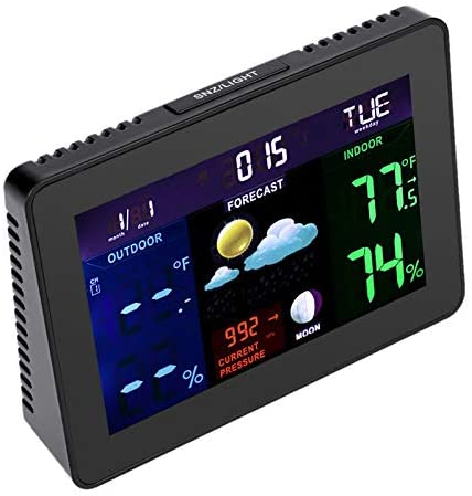 WUAZ Weather Stations Wireless Indoor Outdoor Weather Forecast Station with Color LCD Display, Digital Alarm Clock, 2 Remote Sensor, Humidity Temperature Monitor Barometer