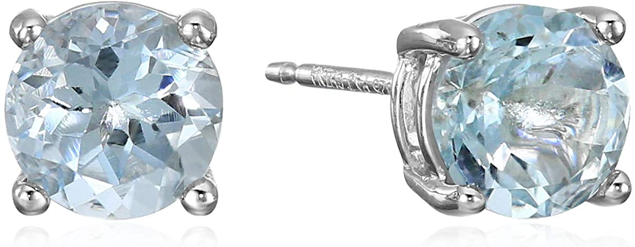 DHgate Essentials Sterling Silver Genuine or Created Round Cut Birthstone Stud Earrings