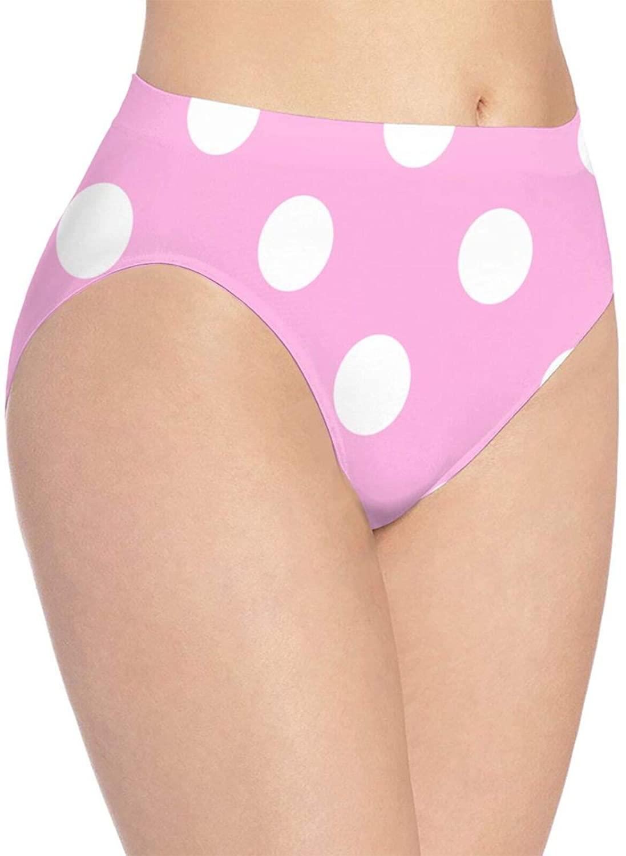 N\ A Womens Underwear Briefs Pink and White Polka Dot_ Ladies Comfy Soft Panties Hipster Bikini