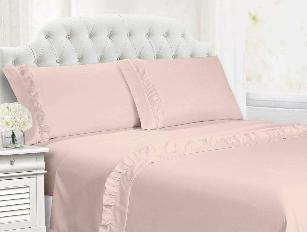 Cotton Magneto 1000-Thread Count 100% Organic Cotton Super Soft 4-Piece Breathable & Comfy Cotton Solid Hem Ruffle Sheet Set with 15 inch Deep Pocket (Olympic Queen,Blush)