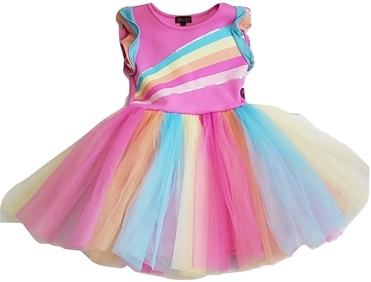 Girls JoJo Siwa Rainbow Tutu Party Dress (Large 10-12)