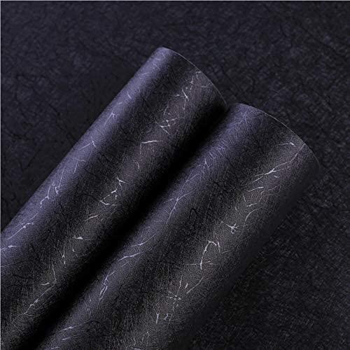 "Silk Black Peel and Stick Wallpaper Self Adhesive Removable Black Wallpaper Wall Paper Embossed Black Wallpaper Stick and Peel for Wall Shelf Table Vinyl Film 17.7""×118"""