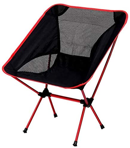 JXDD Fishing Chair Picnic BBQ Folding Chair Outdoor Moon Chair Portable Lazy Chair Beach Sketching Leisure Backrest Lounge Chair 10-3 (Color : Red, Size : 53x35x67cm)