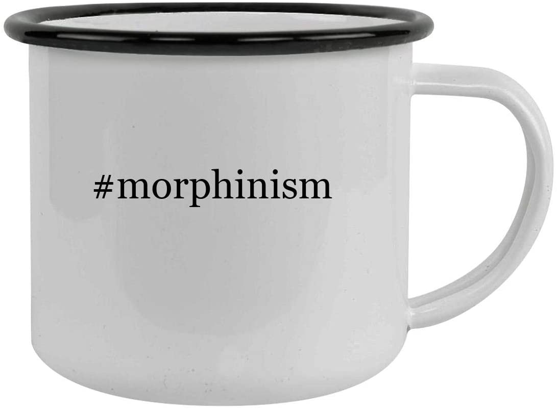 #morphinism - Sturdy 12oz Hashtag Stainless Steel Camping Mug, Black