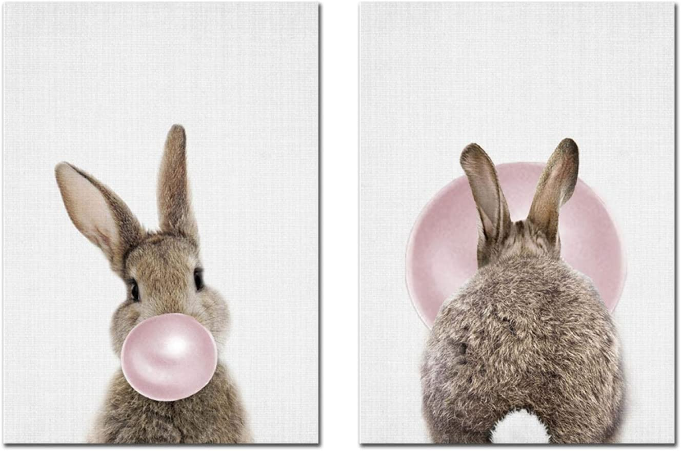 HYFBH Canvas Print Bunny Rabbit Tail Poster Baby Room Wall Art Decor Pink Bubble Nursery Painting Woodland Animal Picture Gift 40x60cm(16x24in) x2 Framework