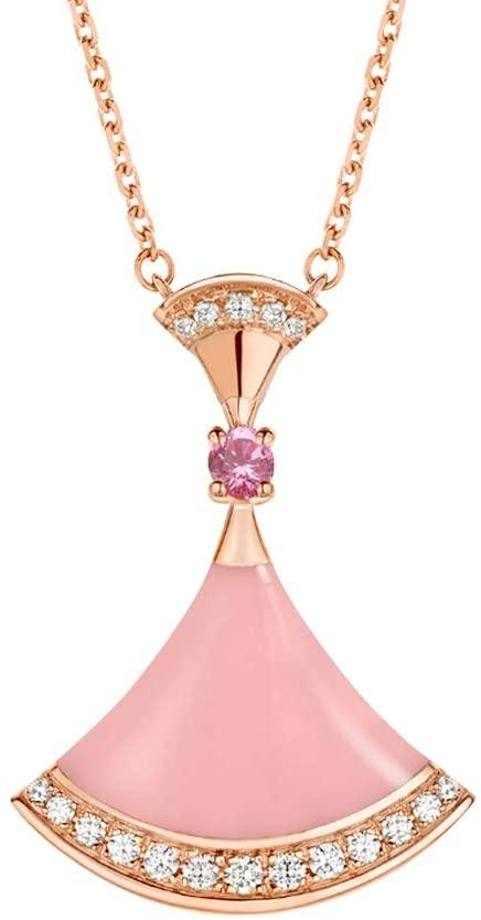 Womens Fashion 18K Rose Gold Necklace Fan Shape Pendants (Pink)