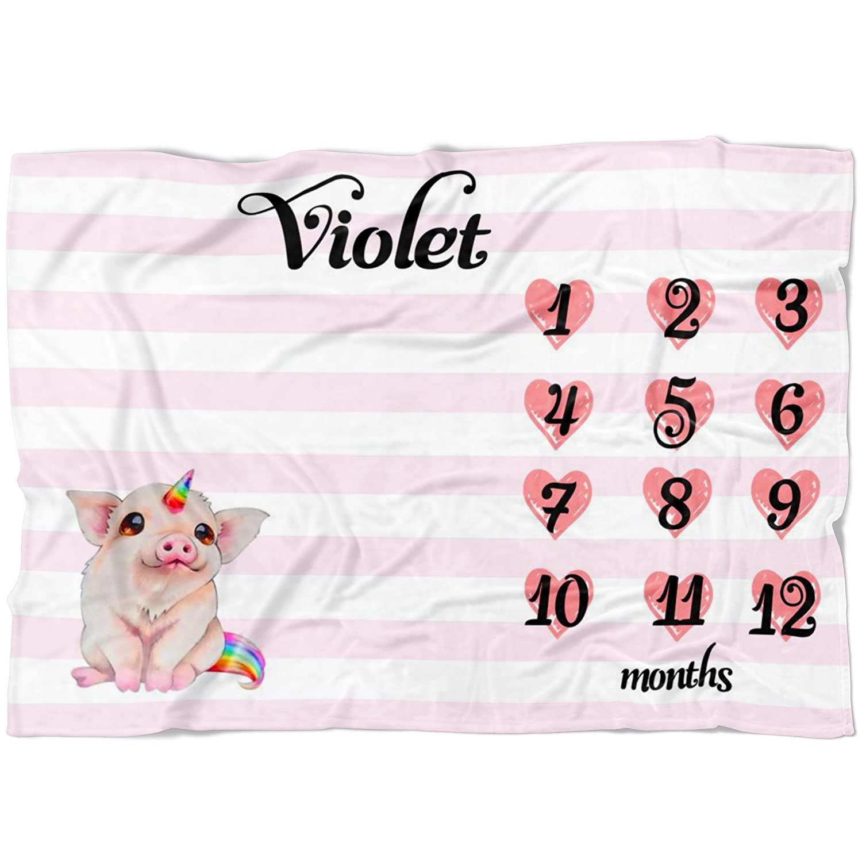 Personalized Baby Blanket - Cute Pig Unicorn Baby Blanket - Pig Unicorn Baby Girl Blanket - Pig Unicorn Milestone Blanket - Newborn Gift with Unicorn - Baby Shower Gift (60x80)