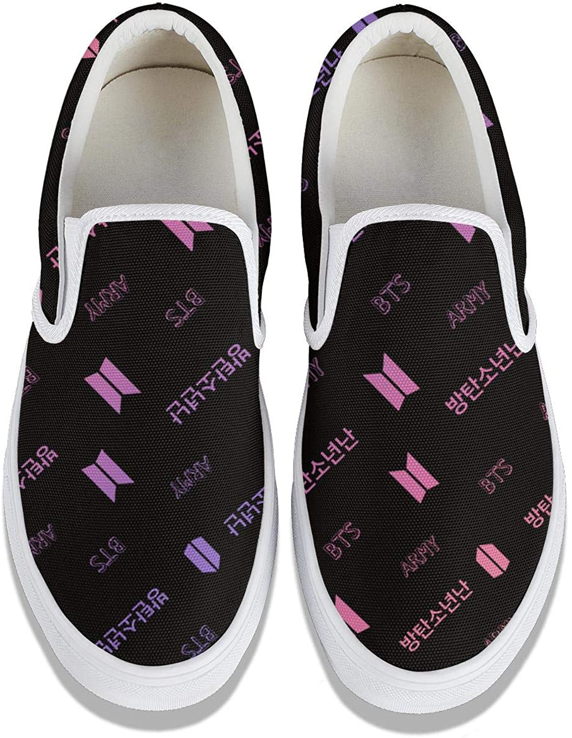 BTS-Kpop-Bangtan-Boys- Girl Convas Slip on Snakers Loafers Shoes Canvas Classic Shoes