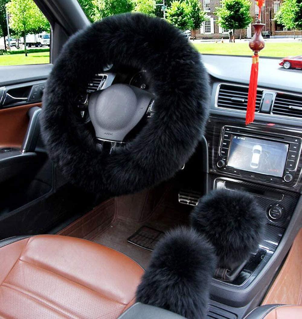 Carmen 15 Inch Car Steering Wheel Cover Fluffy Pure Australia Sheepskin Long Wool Warm Winter Steering Wheel Cover + Gear Shift Cover + Handbrake Cover (Black)