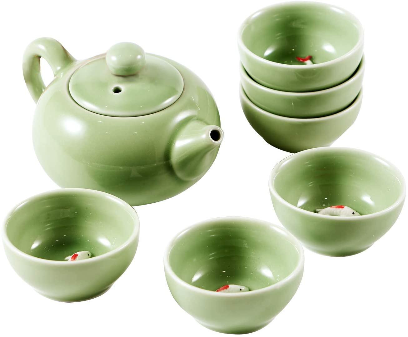 Chinese Kongfu Tea Set Ceramic Kung Fu Tea Cup Set Exquisite Oriental Porcelain Tea Ware Teapot Teacups China Tea Service Toy Tea Set for Home Office Use Gift (Green)