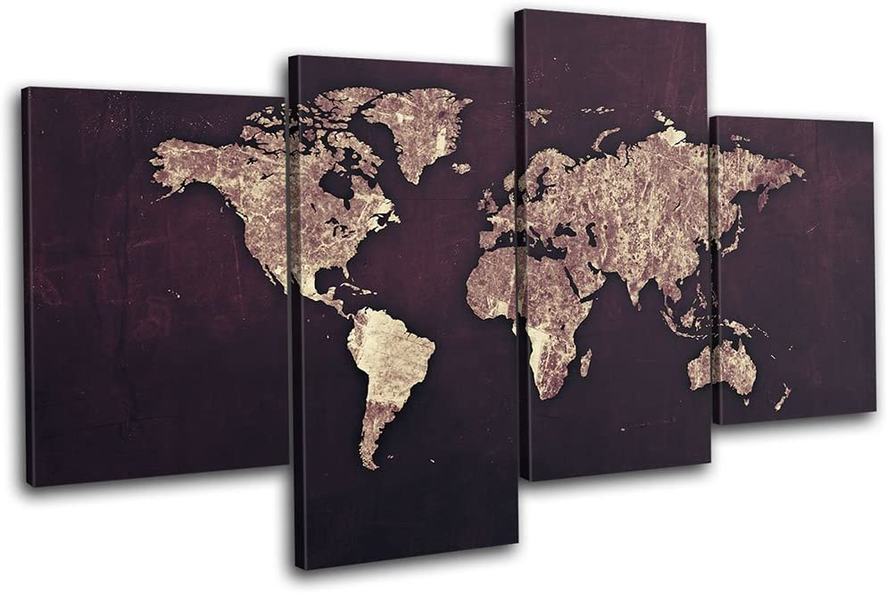 Bold Bloc Design - World Atlas Antique Vintage Maps Flags 240x135cm Multi Canvas Art Print Box Framed Picture Wall Hanging - Hand Made in The UK - Framed and Ready to Hang