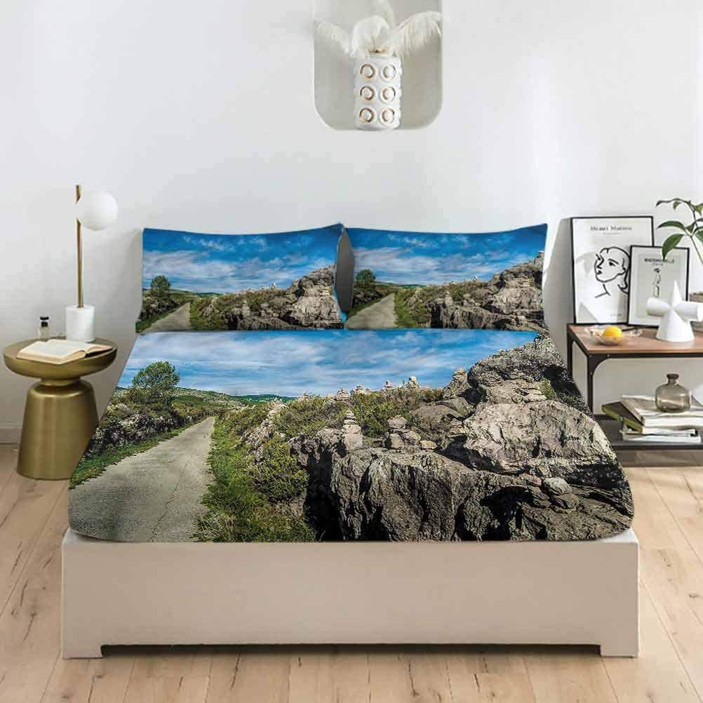 LCGGDB Landscape Full Size Fitted Sheet & Pillowcase Sets,Mountain with Pine Trees Deep Pockets Bedding Fitted Sheets-1 Fitted Sheet with 2 Pillow Cases for Kids & Adults Bedding