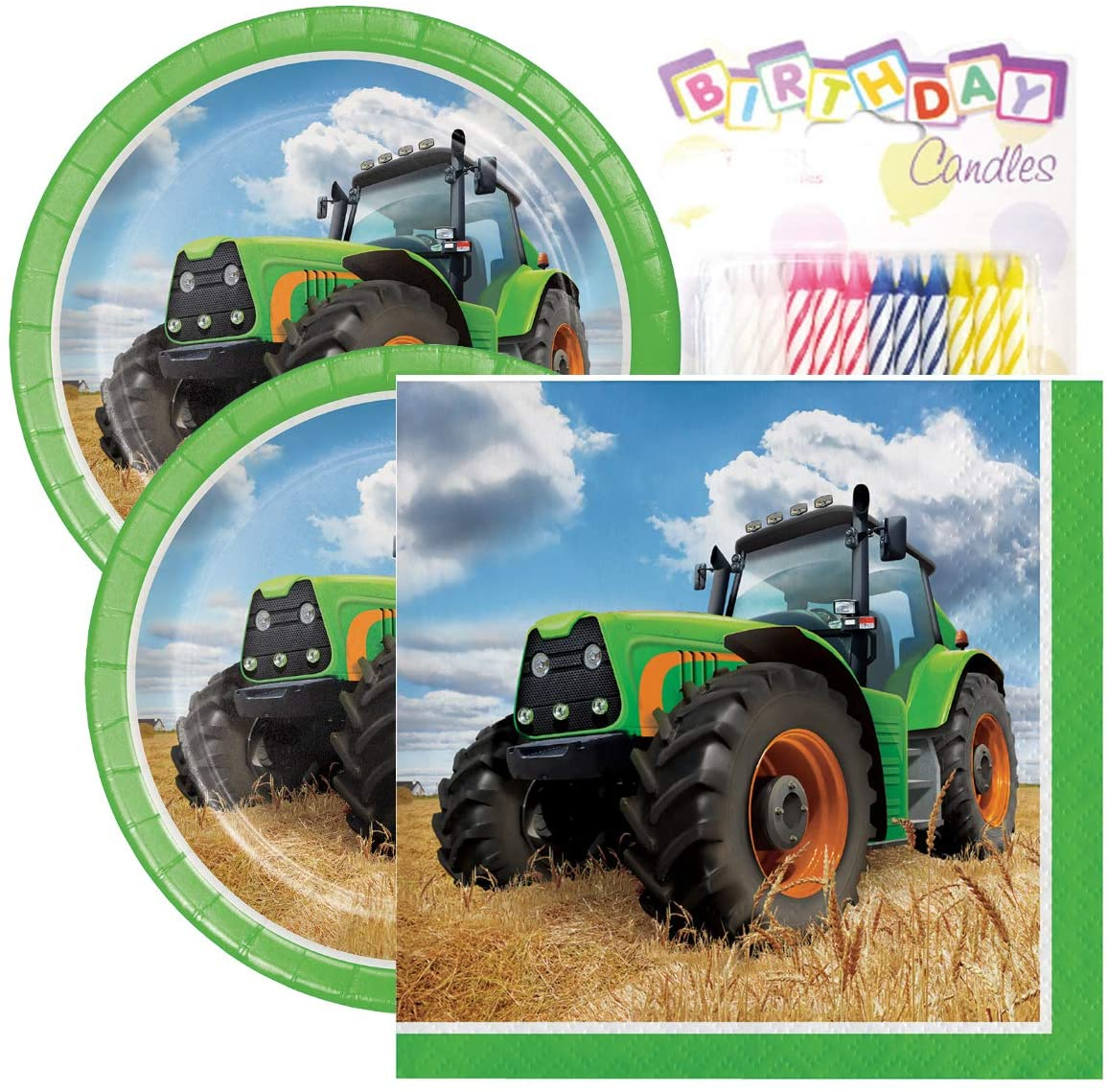 """Tractor Time Birthday Party Pack – Includes 7"""" Paper Plates & Beverage Napkins Plus 24 Birthday Candles – Serves 16"""