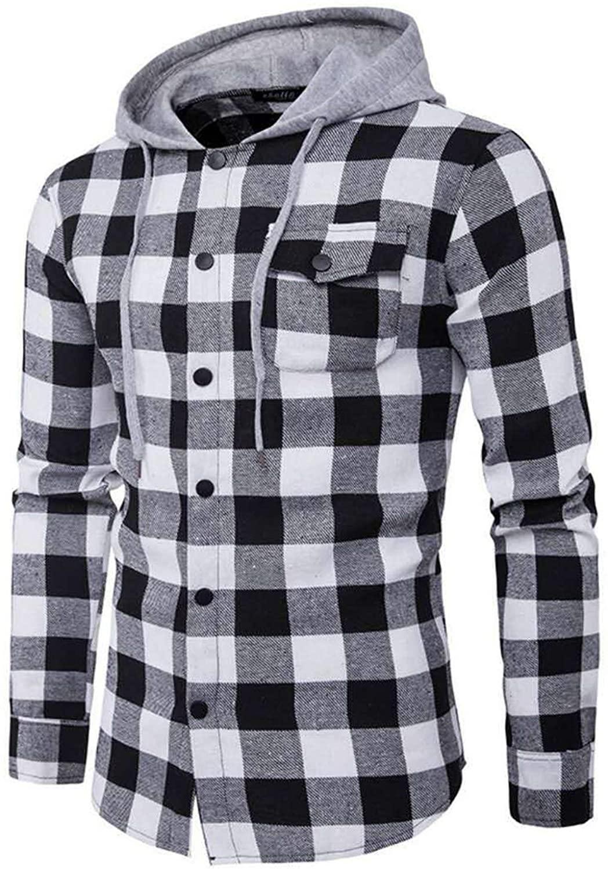 Andongnywell Mens Shirts Selling Long Sleeve Checkered Classic Slim Fit Plaid Button Down Shirt Hoodie Sweatshirt
