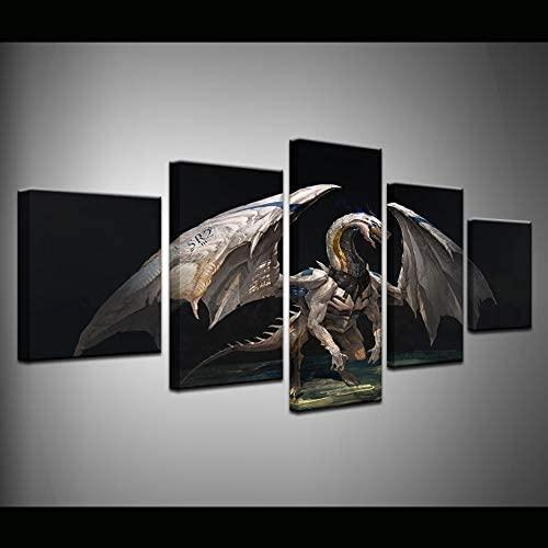HIOJDWA 5Pcs Modular Dragon Light Broken Wings Art Wallpaper Living Room Bedroom Home Art Decor Posters Large Wall Canvas