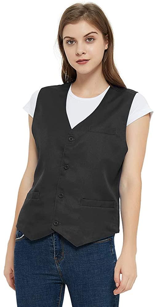 TOPTIE Unisex Button Vest Work Wear Uniform Vest