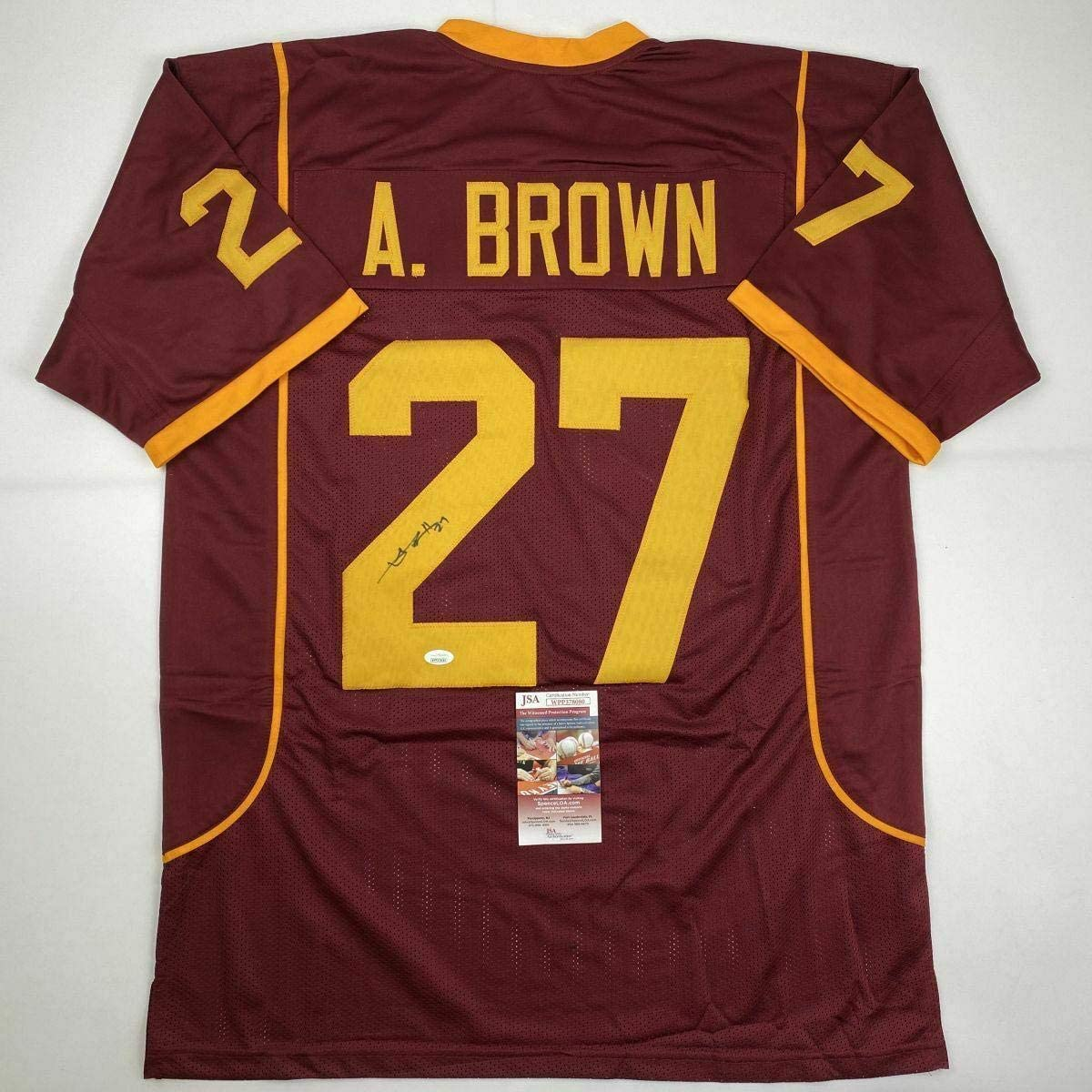 Autographed/Signed ANTONIO BROWN Central Michigan Maroon College Jersey JSA COA - Autographed NFL Jerseys