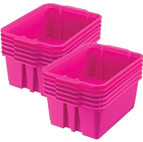 Really Good Stuff Stackable Plastic Book and Organizer Bins for Classroom or Home Use – Sturdy, Colored Plastic Baskets (Set of 12)