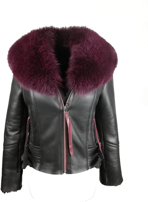 Real Shearling Bomber Jacket for Women B3 RAF Toskana Style Blue Sheepskin Leather Coat