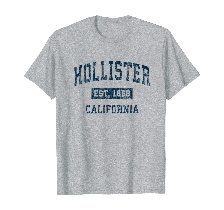 Hollister California CA Vintage Sports Design Navy Print T-Shirt