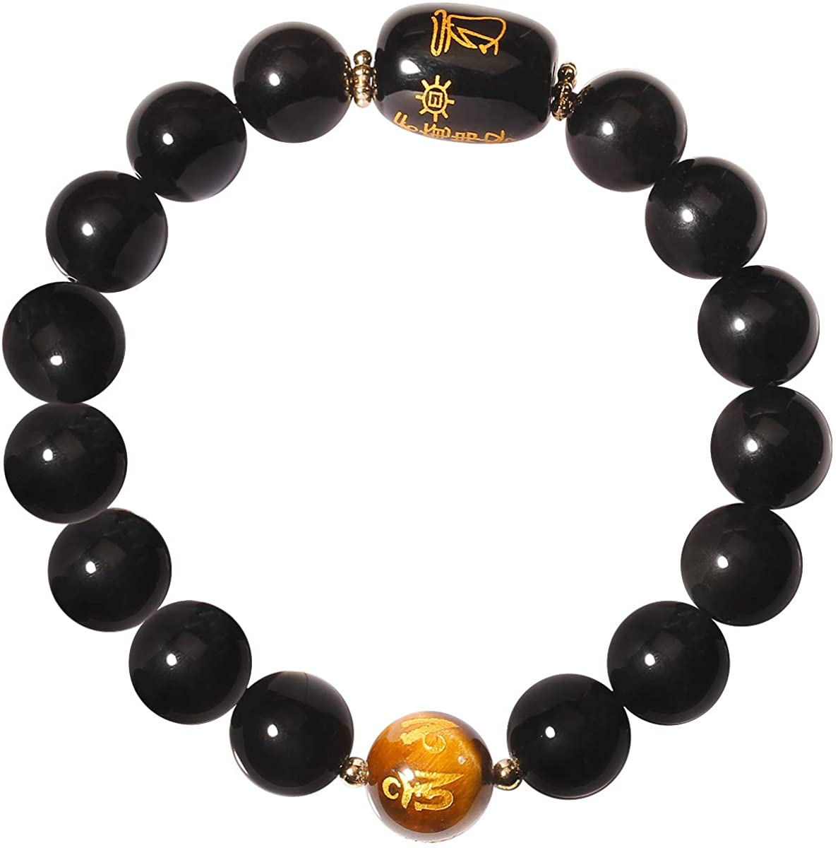 Jewever Feng Shui Black Obsidian Bracelet with Yellow Tiger Eye 12mm Bead Healing Crystal Wealth and Good Luck Bangle Unisex 7 Inch