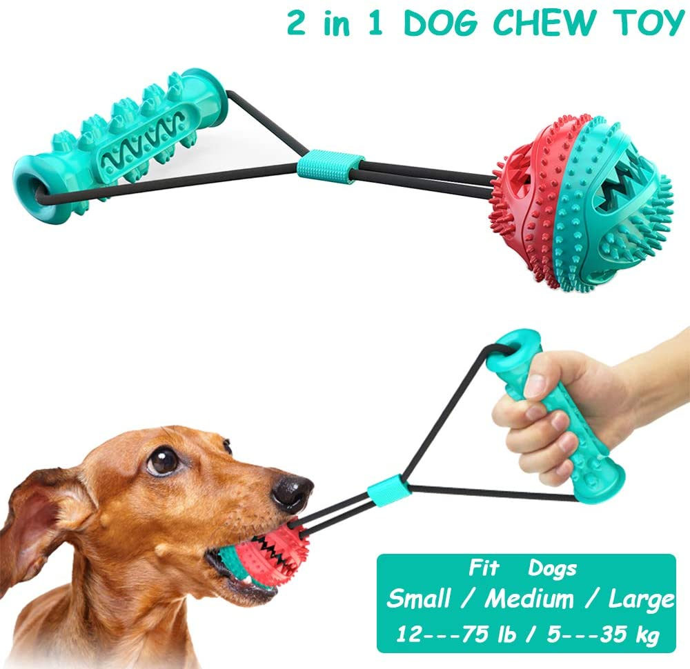Mwatcher Dog Chew Toys Interactive Dog Tug of War Toys for Aggressive Chewers Dog Puppy Teeth Cleaning Toothbrush and Food Dispensing Ball Toys for Small Medium Large Dogs