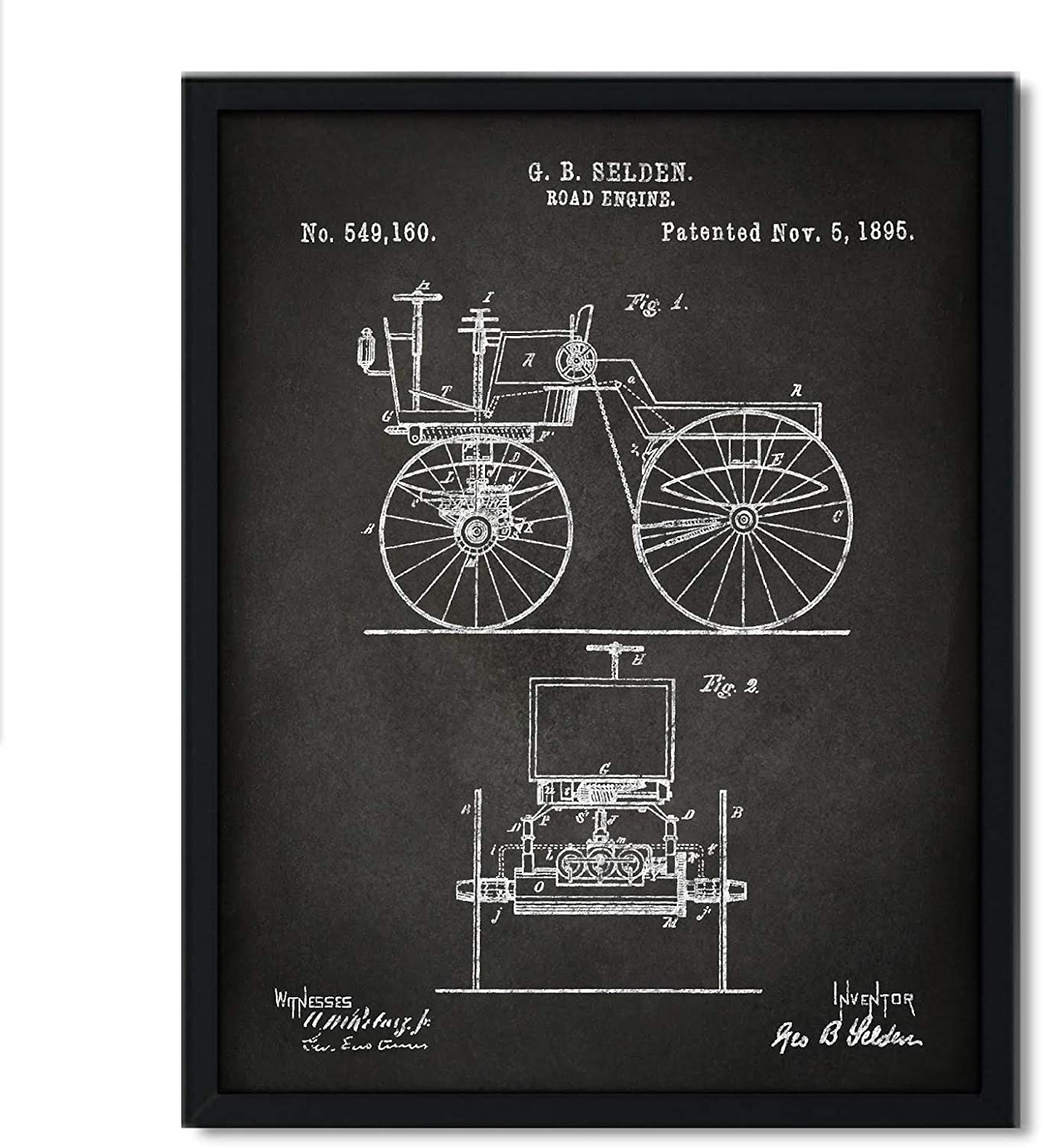 Andaz Press Chalkboard Patent Print Wall Art Decor Poster, 8.5x11-inch, Planes, Trains, Automobiles, Motor Buggy 1895 Patent 1 Poster, 1-Pack, Antique Car, Automobile Poster, Car Poster, Office