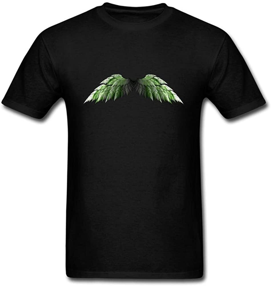 Jocersen Mens Angel Wings Green Hell Fashion Short Sleeve T-Shirt S