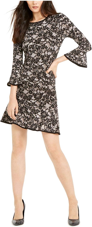 Michael Kors Womens Black Floral Bell Sleeve Jewel Neck Short Sheath Wear to Work Dress Size PM
