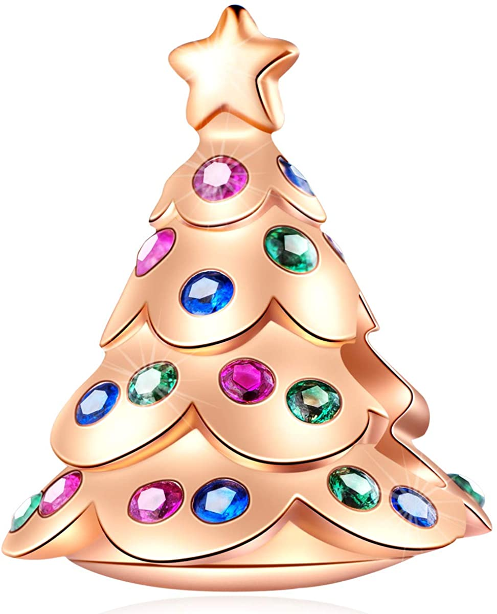 EMOSTAR Xmas Series Charms fits European Bracelet, Rose Gold Happy Snowman Festive Christmas Tree Charms, Christmas Ball Santa Claus Walking Stick Beads and Snowflake Charms