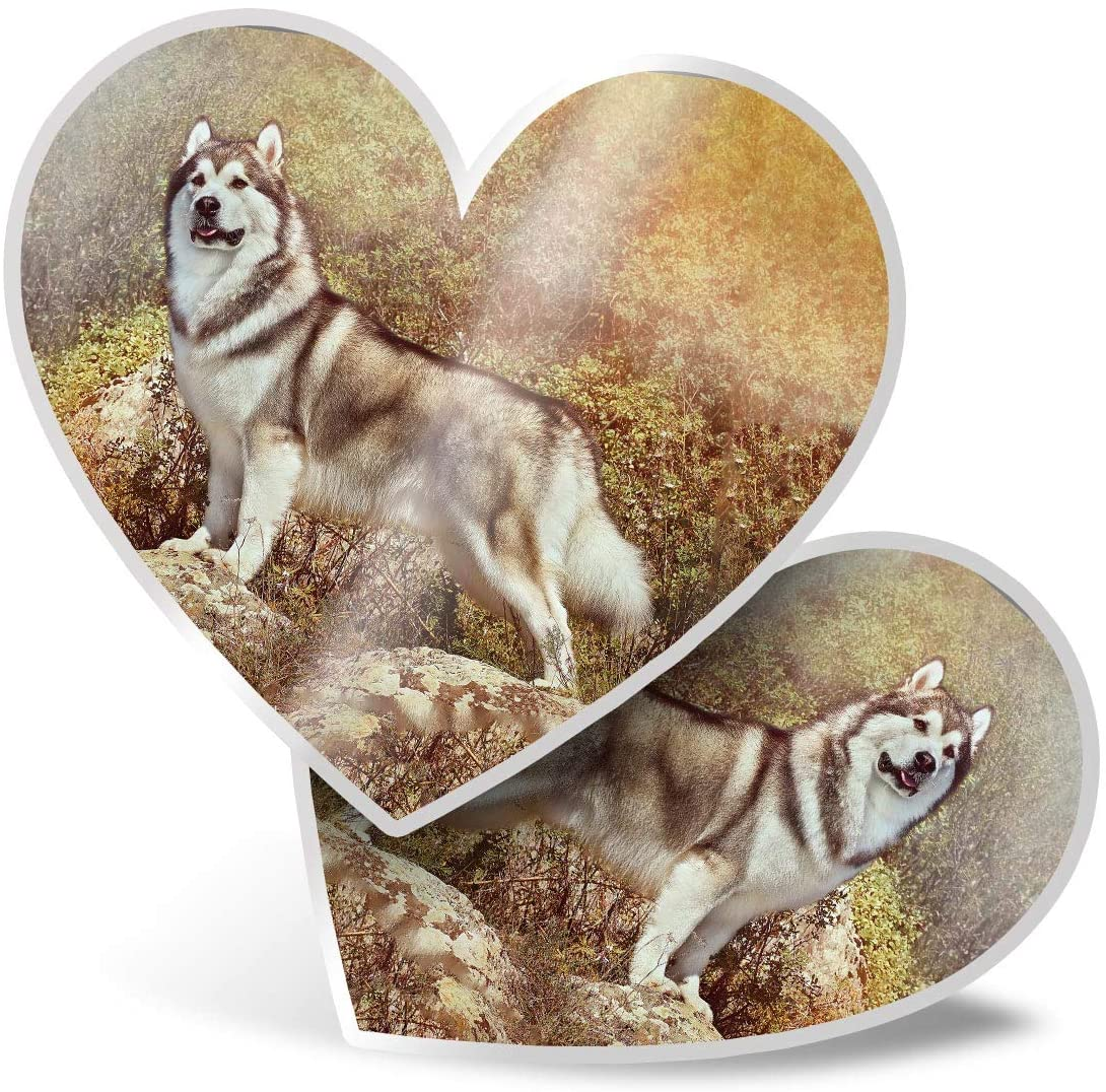 Awesome 2 x Heart Stickers 7.5 cm - Alaskan Malamute Husky Dog Puppy Fun Decals for Laptops,Tablets,Luggage,Scrap Booking,Fridges,Cool Gift #15806