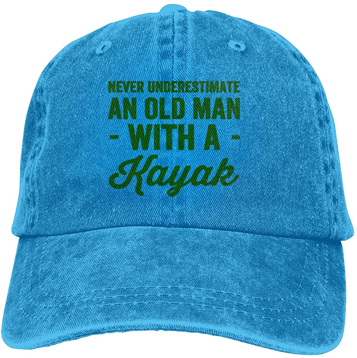 Adults Green Never Underestimate an Old Man with A Kayak Denim Baseball Cap Hats