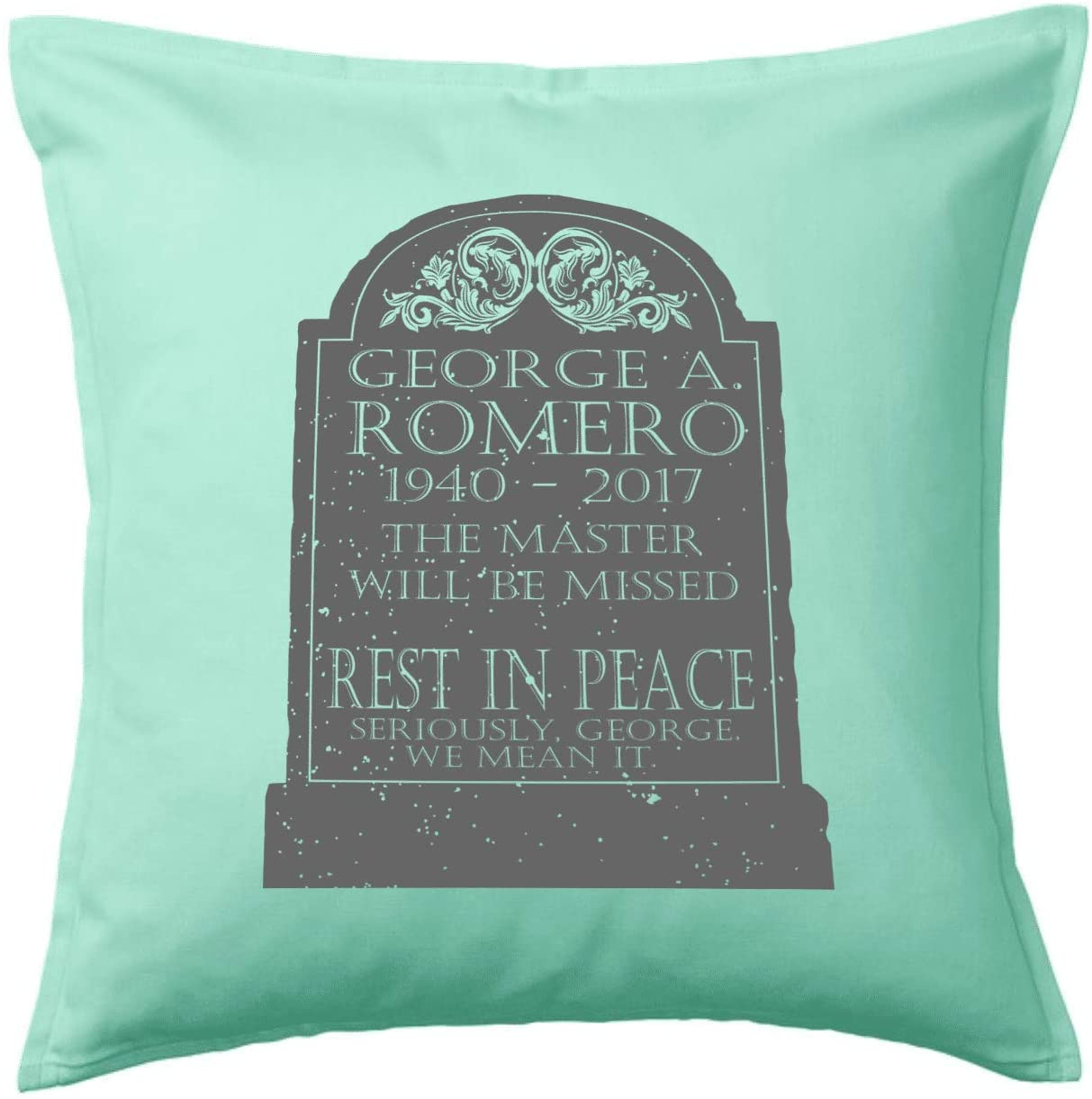 HARD EDGE DESIGN RIP Romero Light Turquoise Green Throw Pillow with Polyester Filling