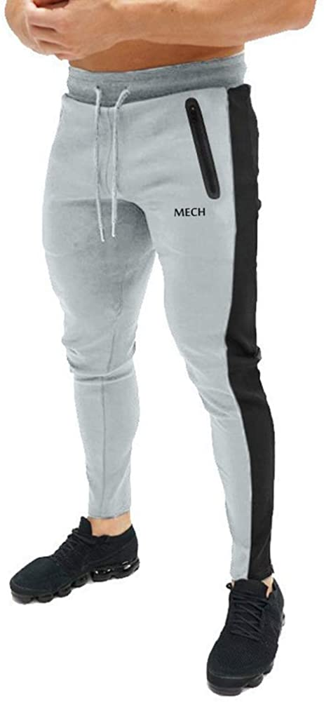 MECH-ENG Men's Gym Stripe Tapered Joggers Pants Running Workout Sweatpants with Zipper Pockets