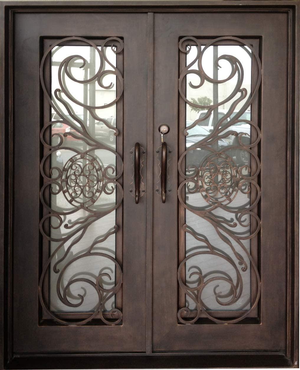 Testudo 73.5x96 Flat Top Iron Door, Easy Clean Glass